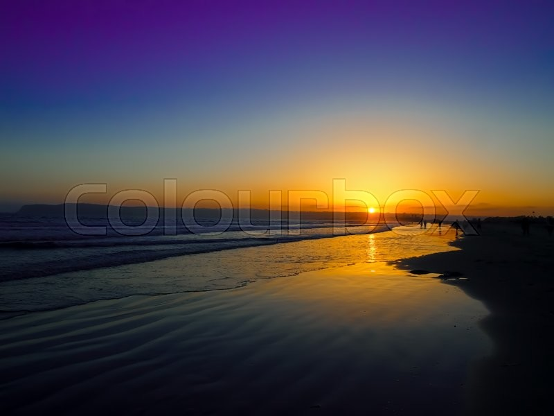 Stock image of 'The Sun Set at the Coronado Beach in San Diego in June'