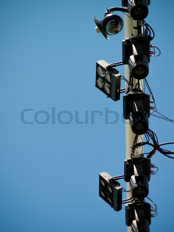 Stock image of 'Lighting And Sound Equipment at the Music Festival'