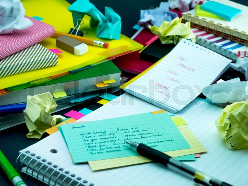 Stock image of 'Learning New Language Writing Words Many Times on the Notebook; Spanish'