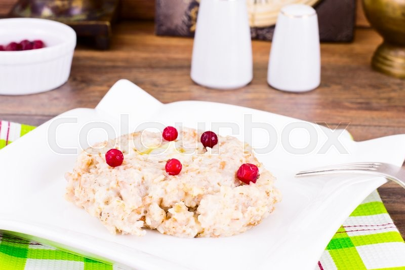 Stock image of 'Oatmeal Cranberry Health Diet Food Studio Photo'