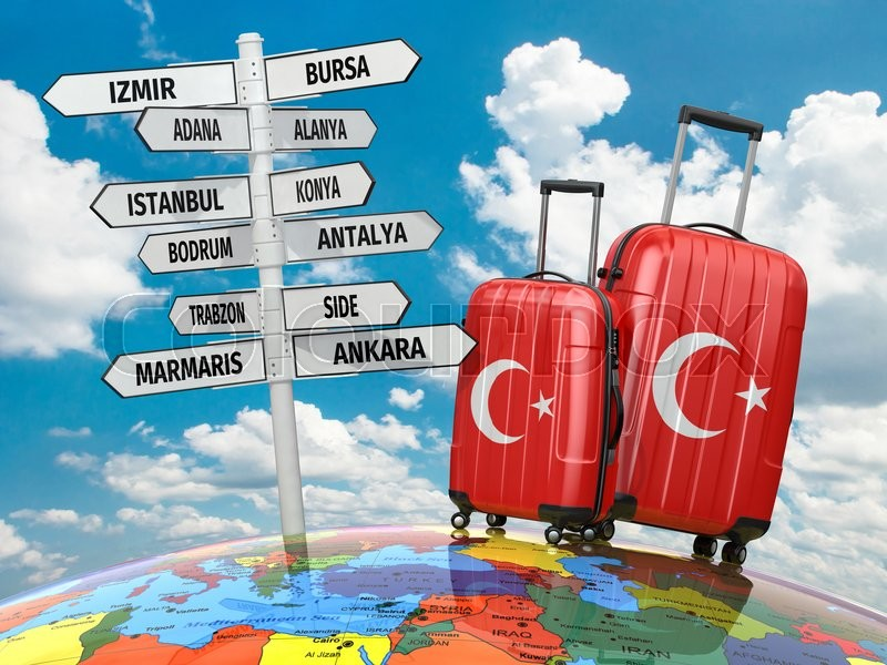 Stock image of 'Travel concept. Suitcases and signpost what to visit in Turkey. 3d'