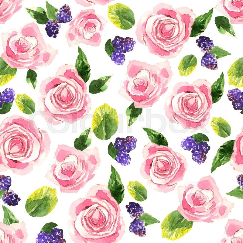 Stock image of 'Pattern with tender pink roses, bluberries and green leaves. Background. Watercolor. Floral elements on white background. Can be used as invitation card for wedding, birthday and other holidays'