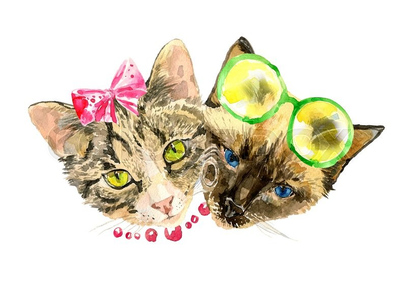 Stock image of 'Fashionable watercolor cats isolated on white background. Valentines day concept. Modern cat girl in bow and handsome cat boy in lemon glasses. For posters, invitation and greeting cards, t-shirts.'