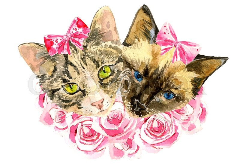 Stock image of 'Fashionable watercolor cats  in pink roses isolated on white background.  Modern cat girls in bows. Beautiful kittens. For posters, invitations and greeting cards, birthdays, eighth of March, t-shirts'