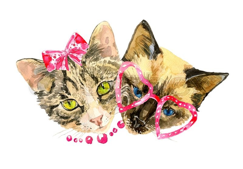 Stock image of 'Cat lovers celebrate Valentines day. Modern cat girl in fashionable bow and handsome cat boy in cute glasses. Can be used for posters, invitation and greeting cards, t-shirts. Watercolor illustration'