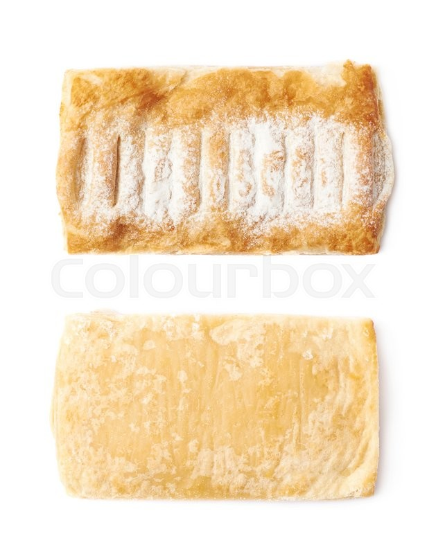 Stock image of 'Sugar powder covered strudel bun isolated over the white background, set of two different foreshortenings'