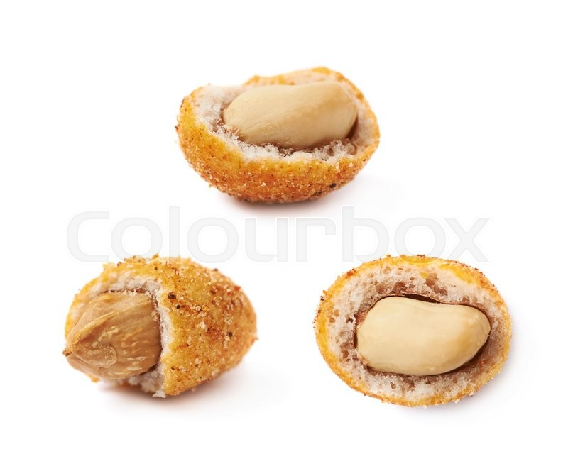 Stock image of 'Spicy flavour crunchy coated nut isolated over the white background, set of three different foreshortenings'