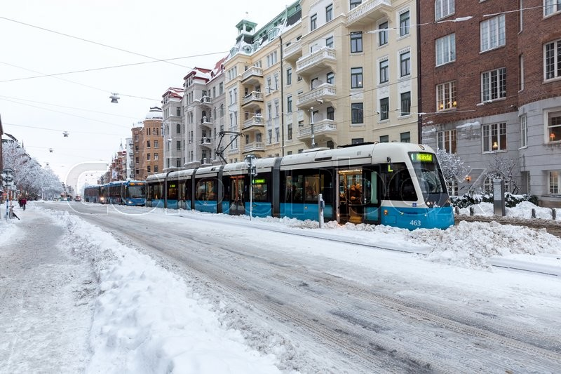 Editorial image of 'Queue of trams and busses due to large amount of snow in Gothenburg, Januari 2016.'