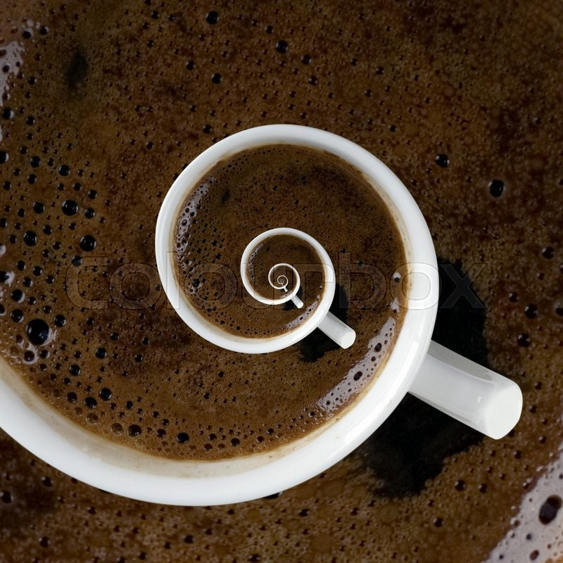 Stock image of 'Abstract Caffeine Addiction Droste Effect'