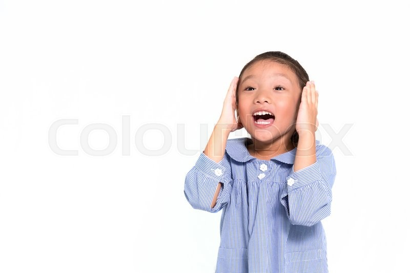 Stock image of 'Little asian girl frustrated and put hand closing her face isolate background'