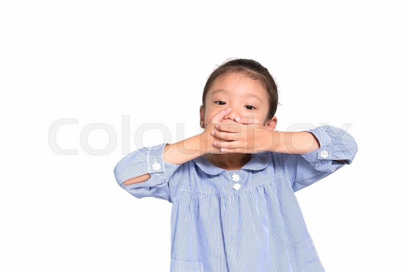 Stock image of 'Little asian girl put hand closing her mouth isolated on white background'