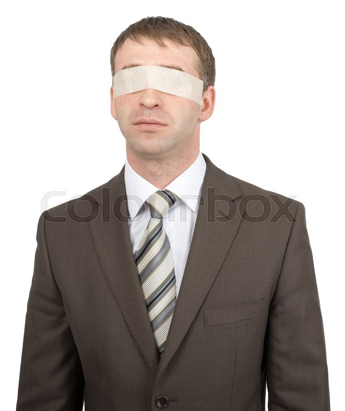 Stock image of 'Businessman with tape over his eyes isolated on white background'