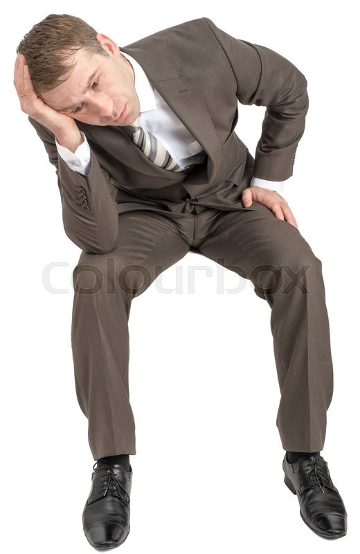 Stock image of 'Thinking businessman sitting on empty space isolated on white background'