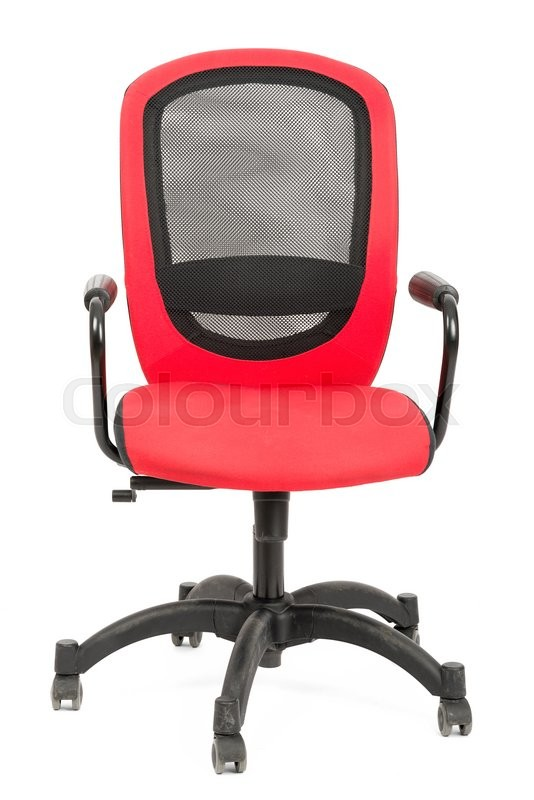 Stock image of 'Red office chair isolated on white background, front view'