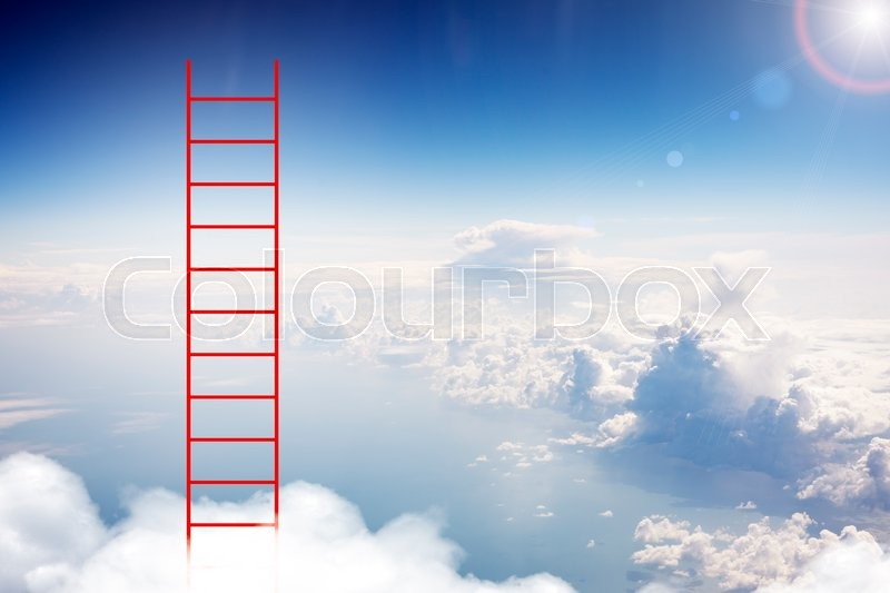 Stock image of 'Red ladder in sky with clouds and sun'