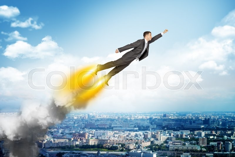 Stock image of 'Businessman in suit flying above cityscape, front view'