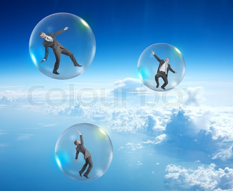 Stock image of 'Set of businessmen in bubbles flying in sky with clouds'