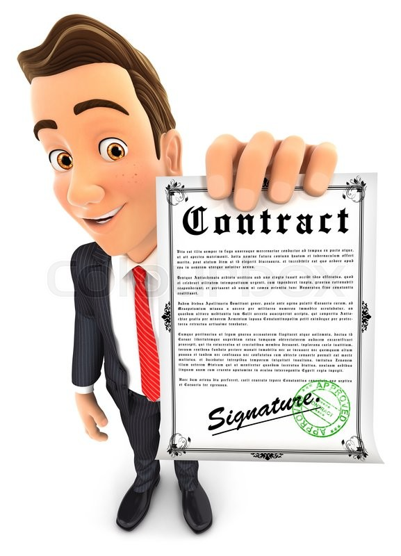 Stock image of '3d businessman holding signed contract, isolated white background'