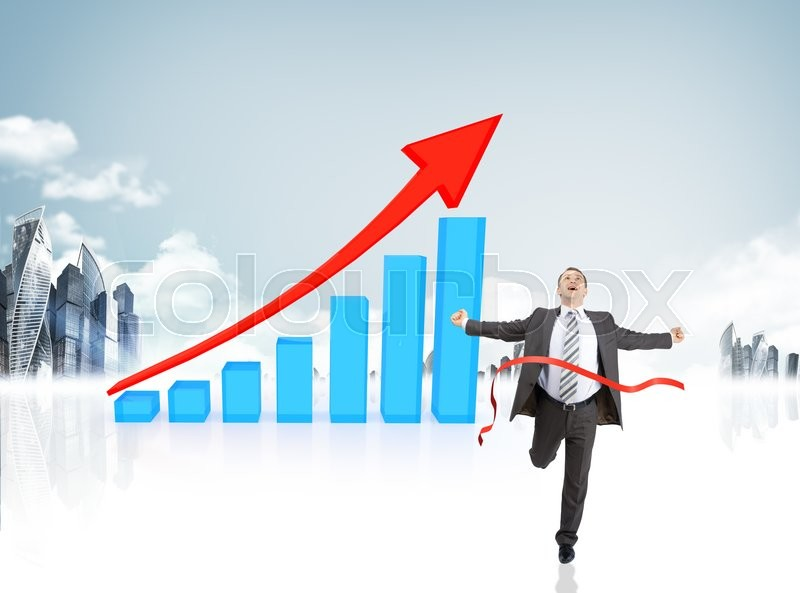 Stock image of 'Happy businessman running forward on abstract background with graphical chart'