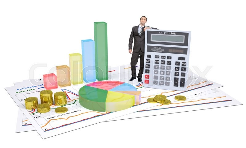 Stock image of 'Businessman with calculator and graphs on white background'