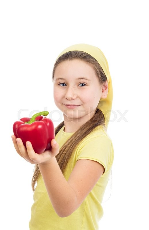 Stock image of 'the beautiful girl with red pepper was photographed on a white background'