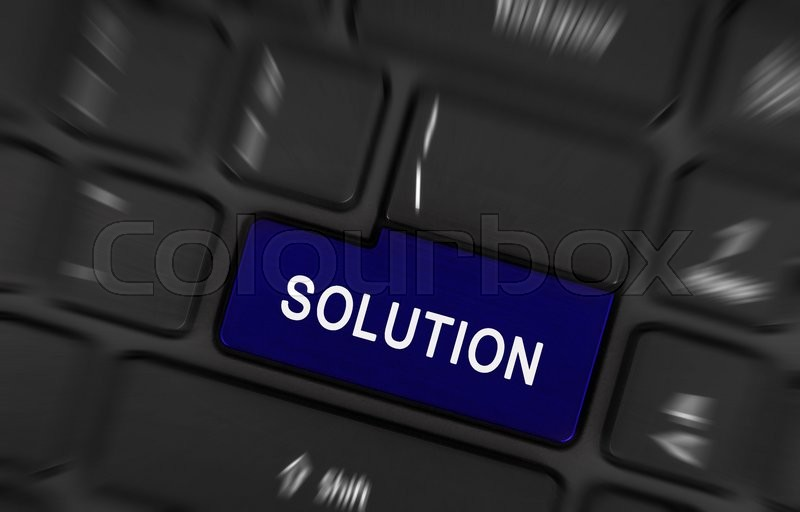 Stock image of 'Close up of Solution laptop keyboard button'