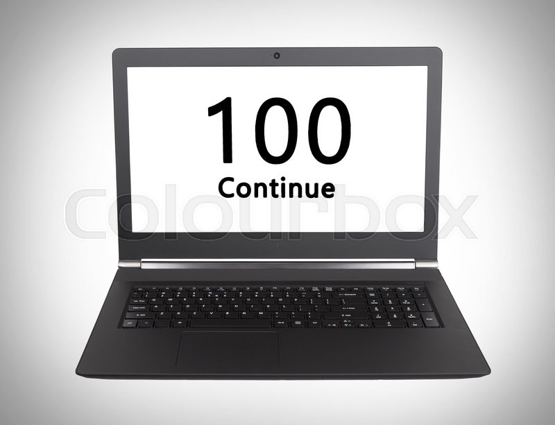Stock image of 'HTTP Status code on a laptop screen  - 100, Continue'