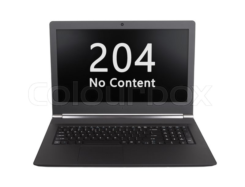 Stock image of 'HTTP Status code on a laptop screen  - 204, No Content'