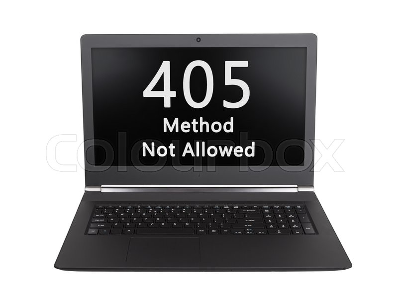 Stock image of 'HTTP Status code on a laptop screen  - 405, Method Not Allowed'