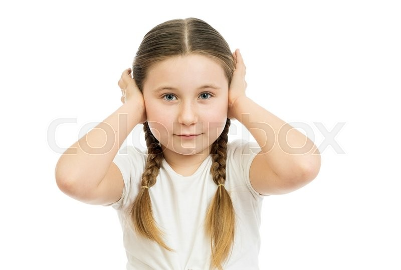 Stock image of 'the beautiful girl with the closed ears was photographed in studio on a white background'