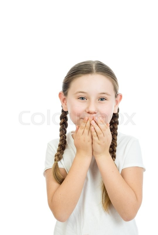 Stock image of 'the beautiful girl covered a mouth with hands in a photographic studio on a white background'