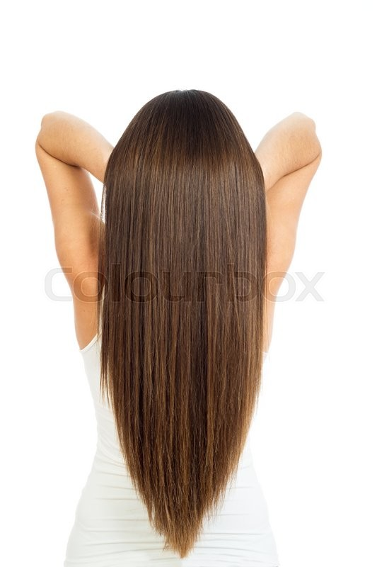 Stock image of 'beautiful female long hair were photographed in studio on a white background'