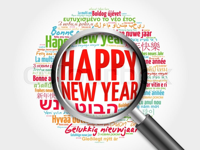 Stock image of 'Happy New Year in different languages, celebration word cloud greeting card with magnifying glass'