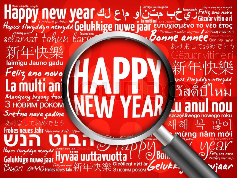 Stock image of 'Happy New Year in different languages, celebration word cloud greeting card with magnifying glass on red background'