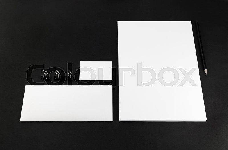 Stock image of 'Photo of blank stationery and corporate identity template on dark background.  For design presentations and portfolios. Mock-up for branding identity.'