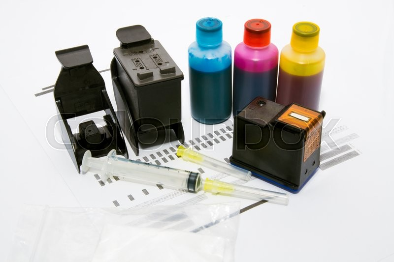 Stock image of 'Ink refill set for printer'