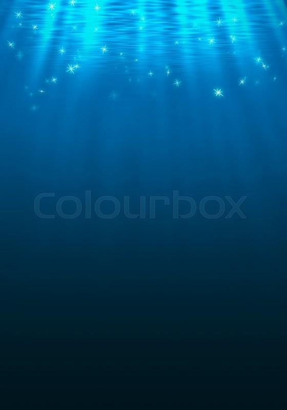 Stock image of 'Underwater background with sunbeams lighting effect'