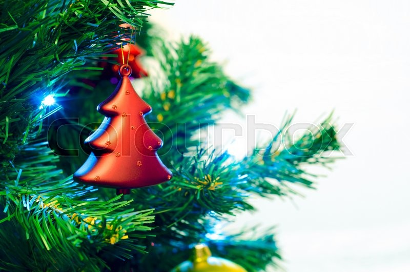 Stock image of 'Red bauble shape of christmas tree'