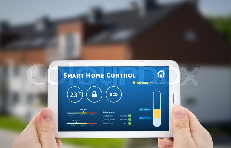 Stock image of 'Intelligence home control technology. Remote automation system on mobile device. Eco and security solution'
