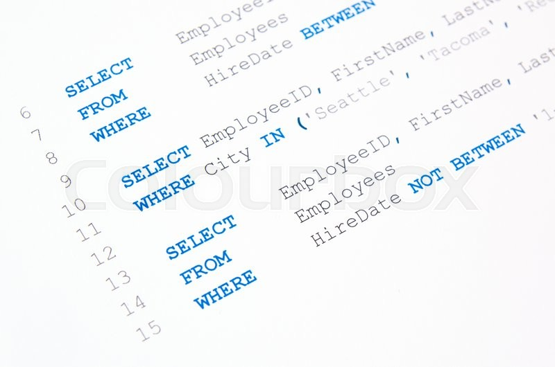 Stock image of 'Code of SQL syntax on white background'