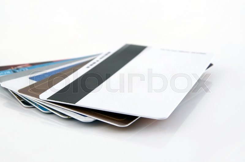 Stock image of 'Multiple blank credit cards close up'