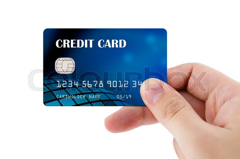 Stock image of 'Hand holding plastic credit card'