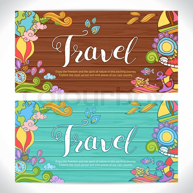 Creative hand-drawn doodle art with summer travel theme for greeting ...