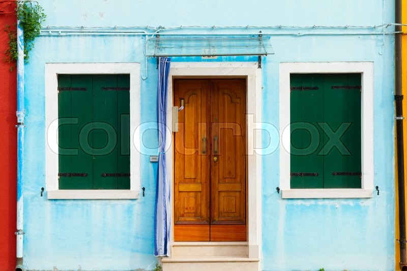 Stock image of 'blue typical house facade of Burano island, Venice, Italy'