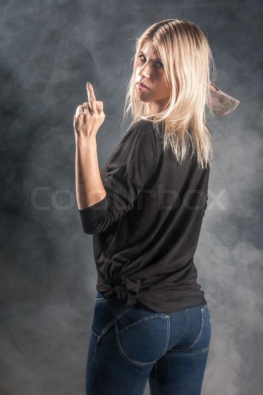 Stock image of 'Angry girl with attitude.'