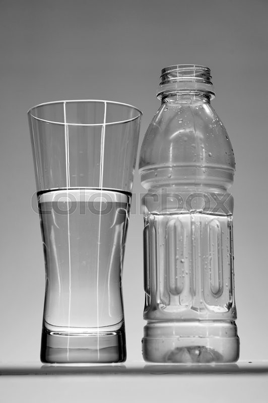 Stock image of 'A studio photo of bottled water up close'
