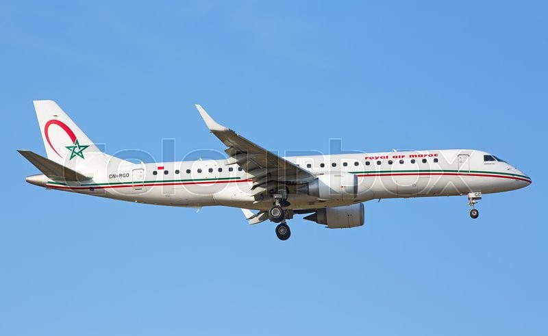Editorial image of 'ZURICH - JULY 18: Embraer 190 Royal Air Maroc landing in Zurich on July 18, 2015 in Zurich, Switzerland. Zurich airport is home for Swiss Air and one of biggest european hubs.'