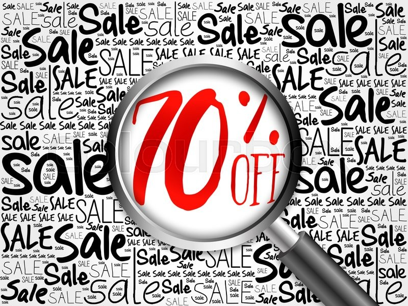 Stock image of '70% OFF sale word cloud with magnifying glass, business concept'