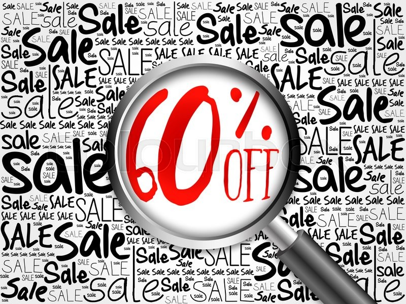 Stock image of '60% OFF sale word cloud with magnifying glass, business concept'