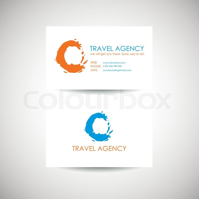 Travel agency business card. Abstract orange and blue circles ...